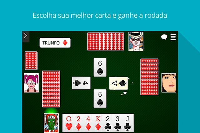 Sueca MegaJogos: tela do jogo